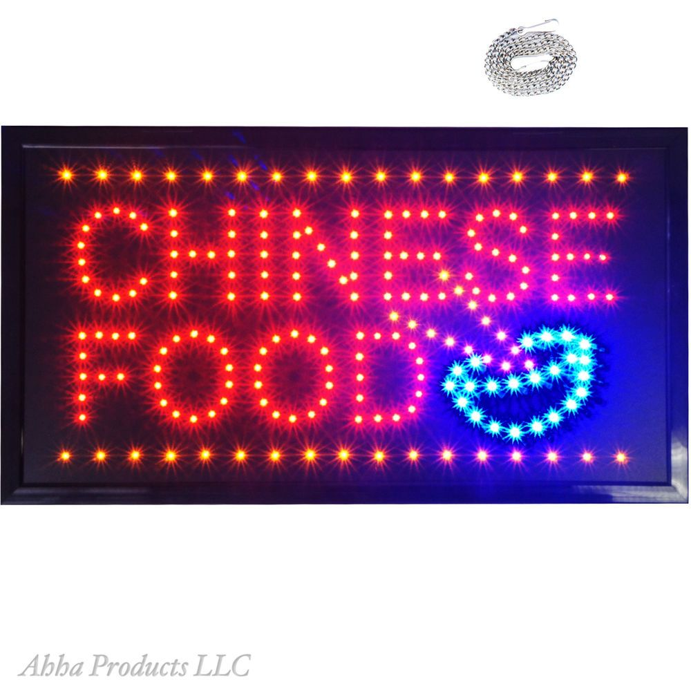 Large 24x13 Bright Chinese Food Noodles Led Open Store Shop Buffet Sign Neon Buffet Signs Chinese Noodle Recipes Chinese Food