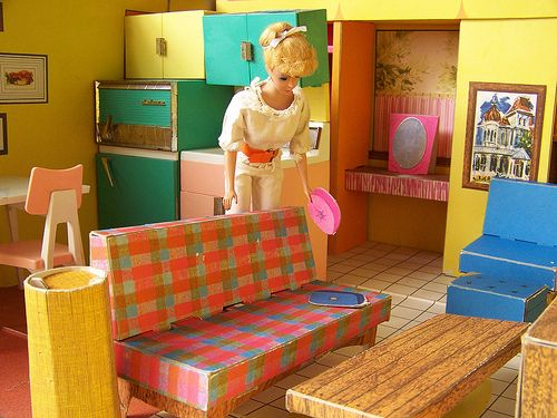 Vintage Barbie Dream House With Cardboard Furniture Barbie Dream House
