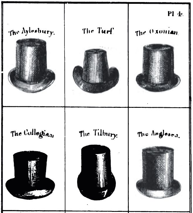 6cd4c7bcfc4 A variety of English top hat styles from 1830 fashion guide.