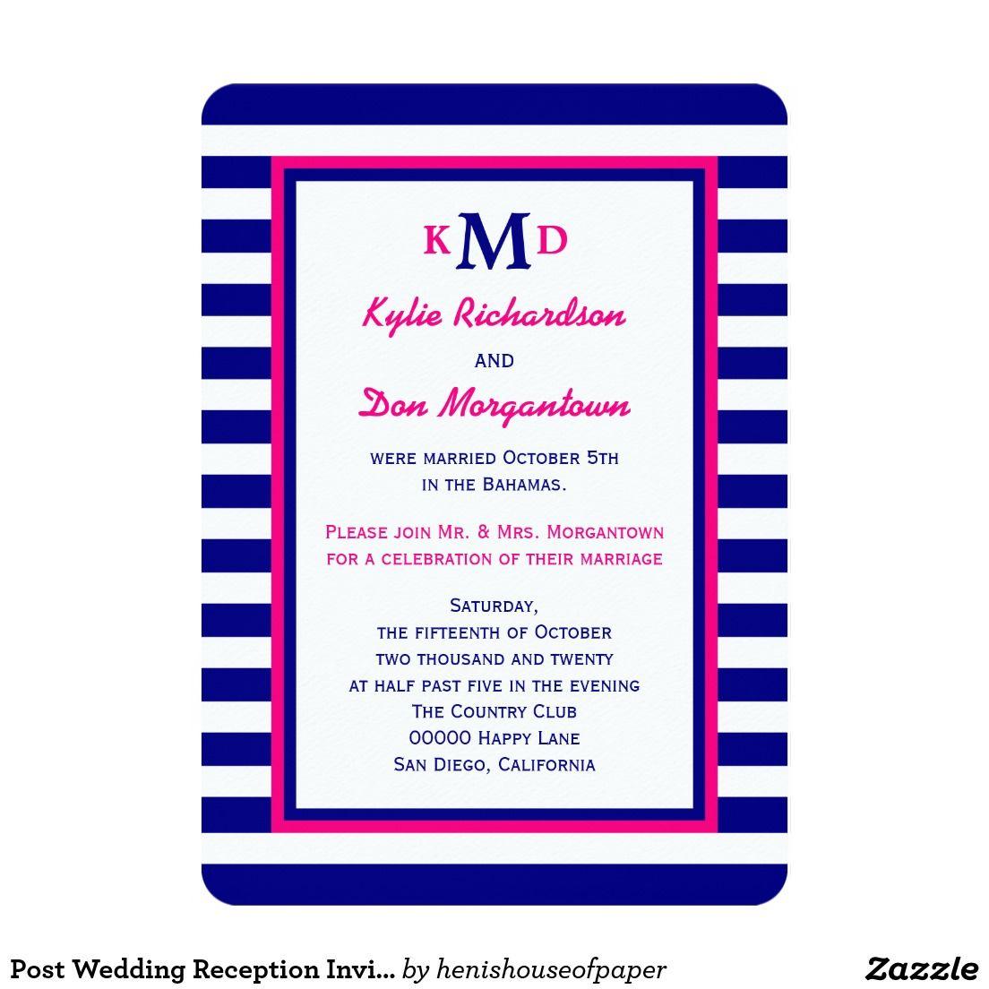 Post Wedding Reception Invitation Pink Nautical | Wedding reception ...
