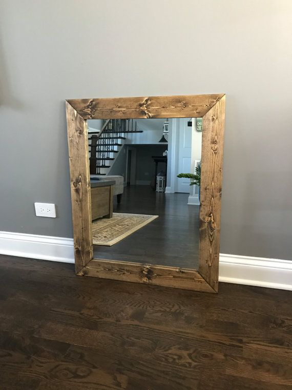 Dark Walnut Wood Framed Mirror Rustic Wood Mirror Bathroom Mirror Wall Mirror Vanity Mirror Large Wood Mirror Bathroom Mirror Wall Mirror Wall Living Room