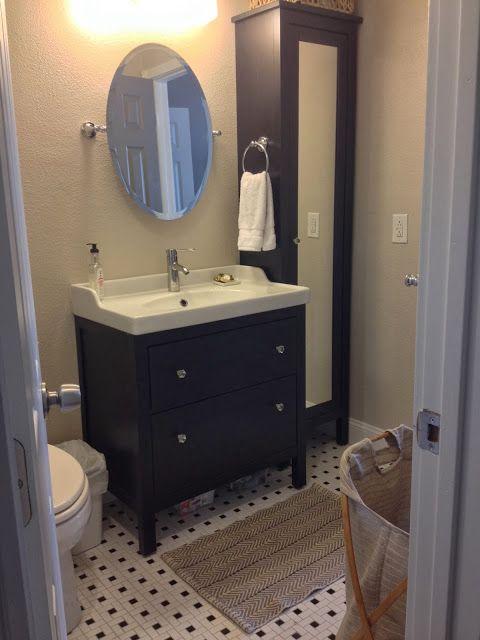 Tall cabinet, smaller sink cabinet \u003e\u003e Bathroom Remodel ~ Lindsey