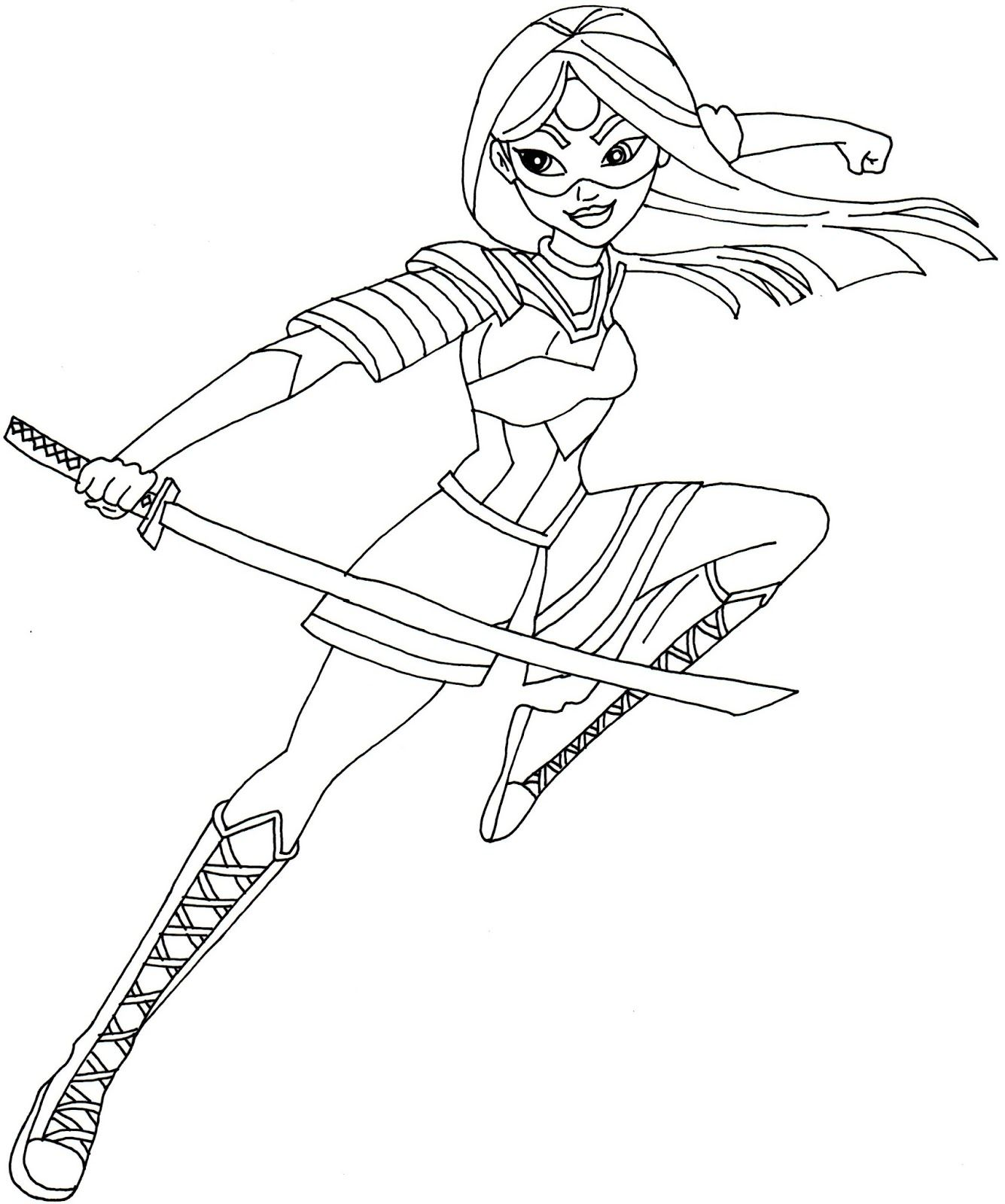 Free printable super hero high coloring page for Katana