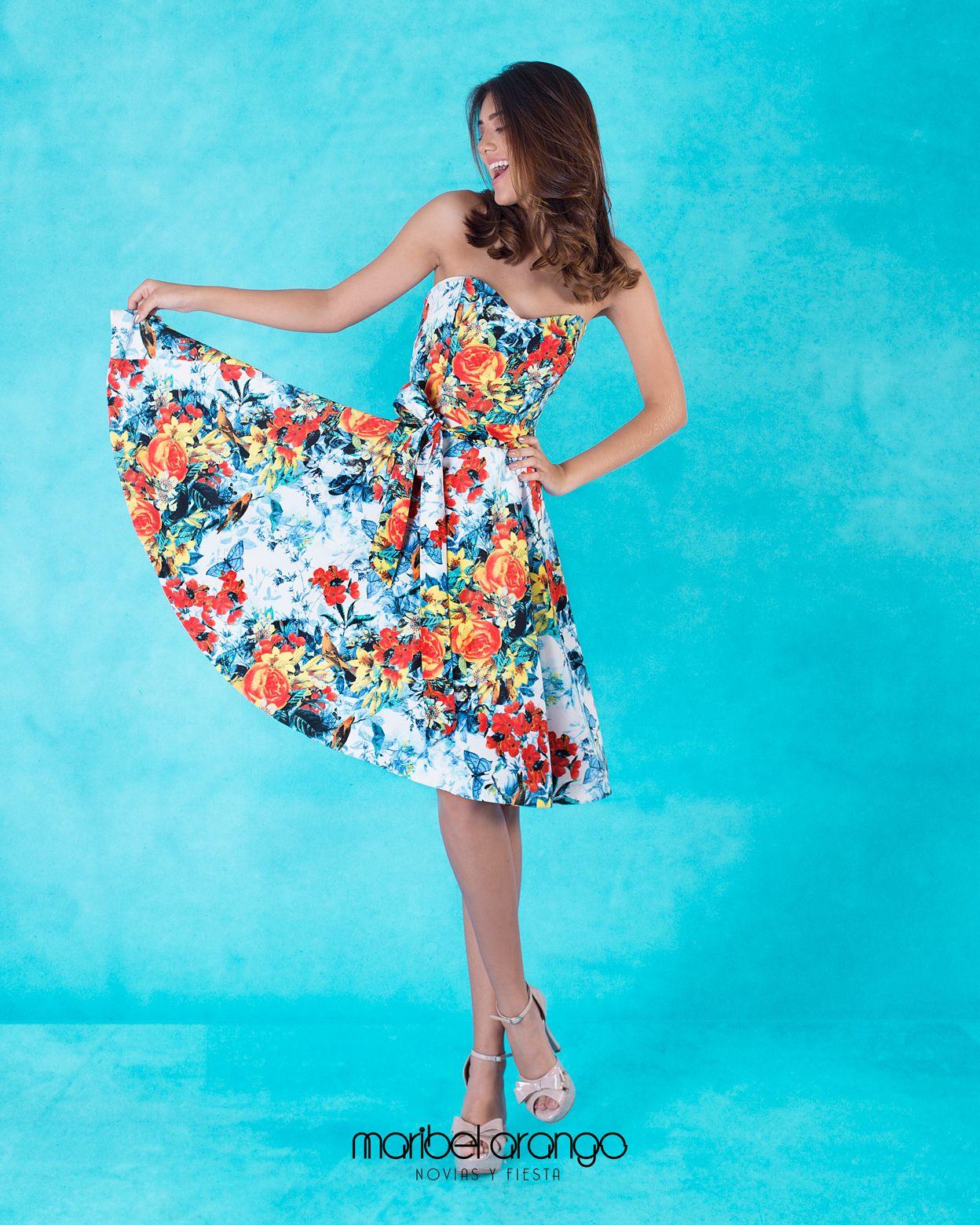 Vestido de Fiesta Corto Con Estampado Floral - Colección 2018 ...