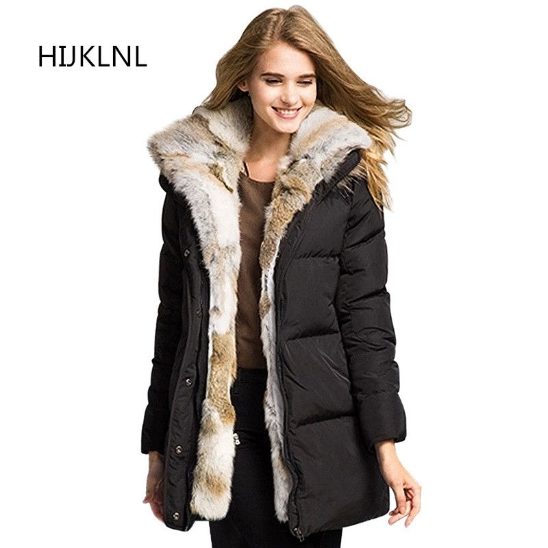 d8c0ddba3b2b 2018 New Women's Winter Down Jacket Fashion Temperament Long Section Thick  Fur Collar Hooded Outer Wild Warm Coat Tq115