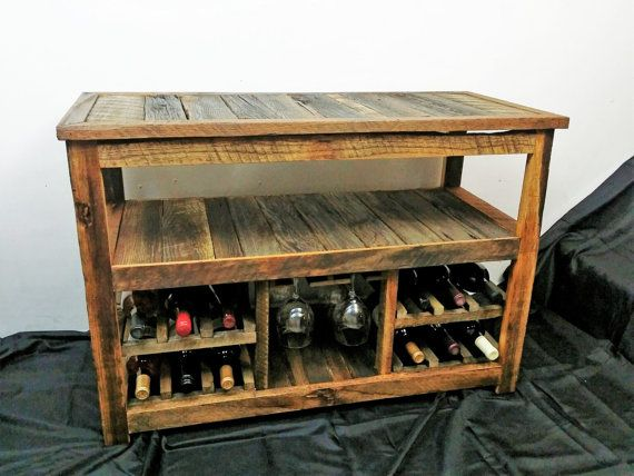 Rustic Tv Stand Or Sofa Table Wood Barn Farmhouse Furniture Wine Racks Reclaimed Rack With Gl