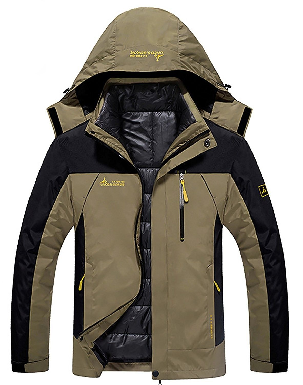 Mens 3-In-1 Outdoor Coats Waterproof Hooded Jacket With Detachable ... 200c5990fe2