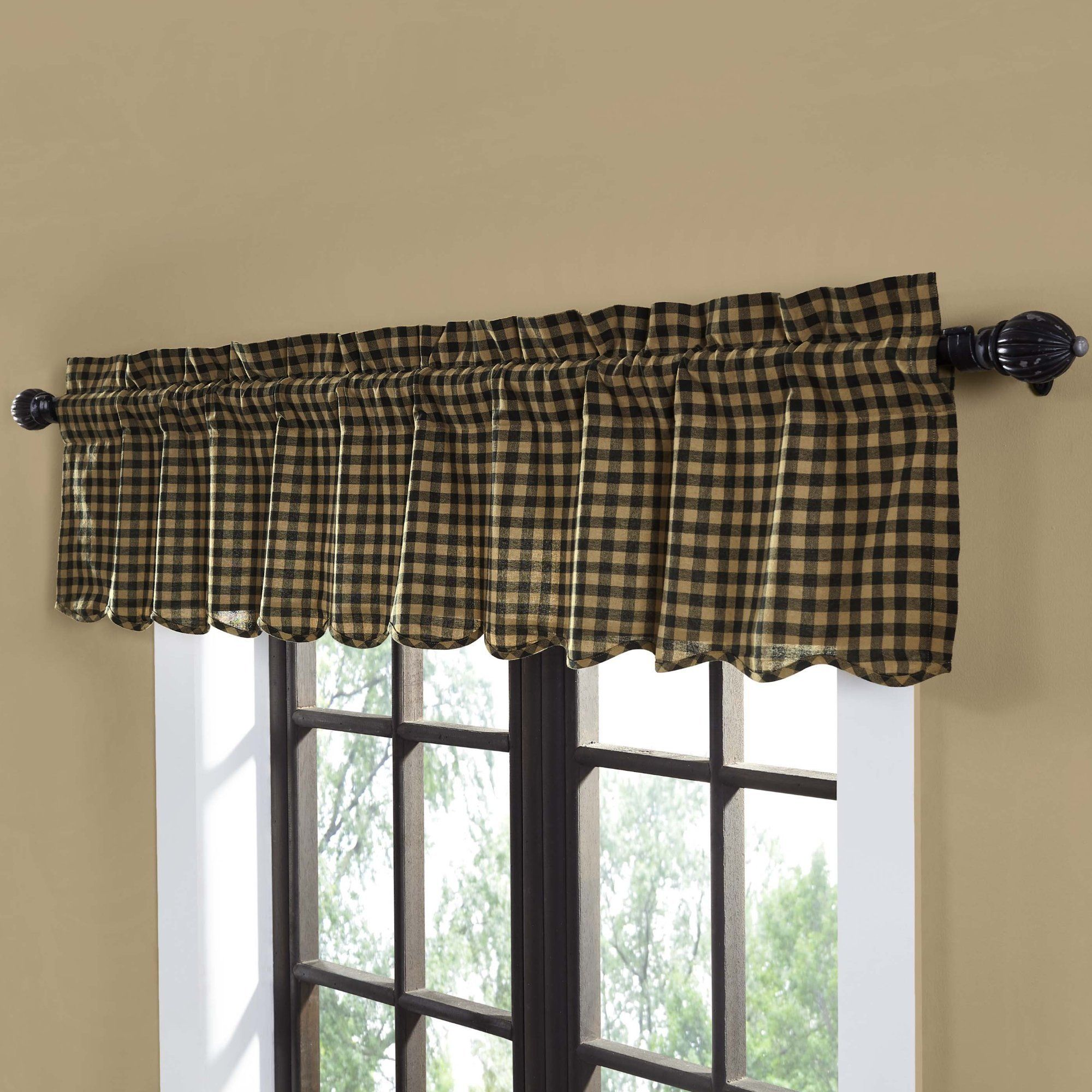 Curtains Blinds Black Tan Check Scalloped Cafe Curtains Country Style Window Tier Set 24 L Home Furniture Diy Mhg Co Ke