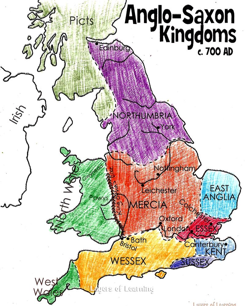 Map Of England 700ad.A Map Of The Different Anglo Saxon Tribes In England Anglo Saxon