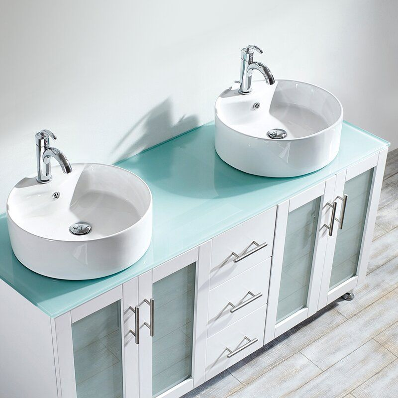 Lansbury 60 Double Bathroom Vanity Set Glass White Vessel Sink
