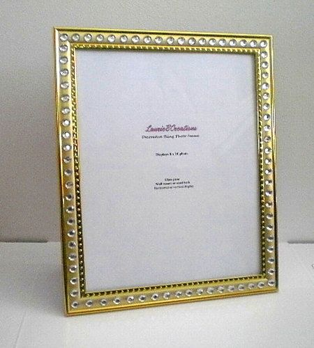 Gold Bling 8 X 10 Picture Frame Gold W Clear Rhinestones By