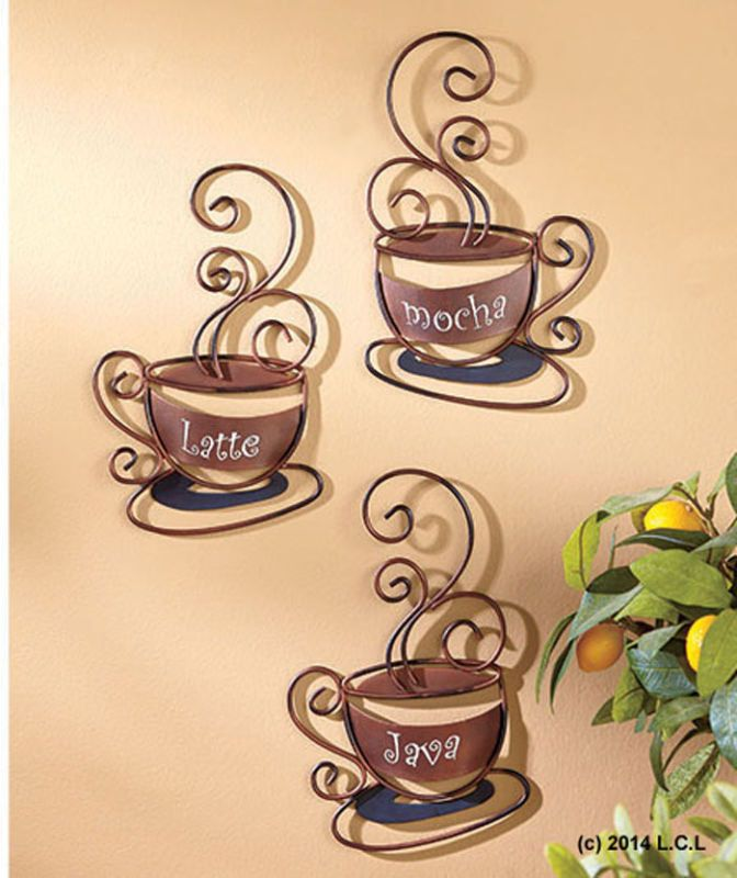 Set 3 Coffee Cup Decorative Metal Wall Art Kitchen Decor IN HAND ...