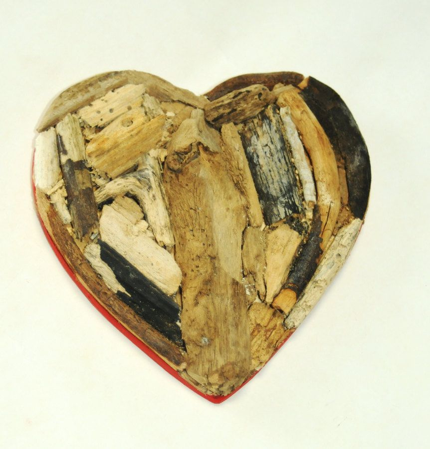 Rustic Driftwood Heart Reclaimed Wood Sculpture, Coastal Cottage ...