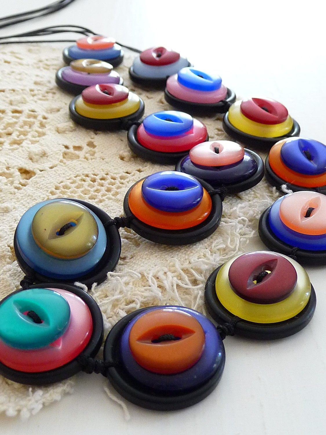 ES275 Rainbow colour vintage buttons by designedbybettyshek