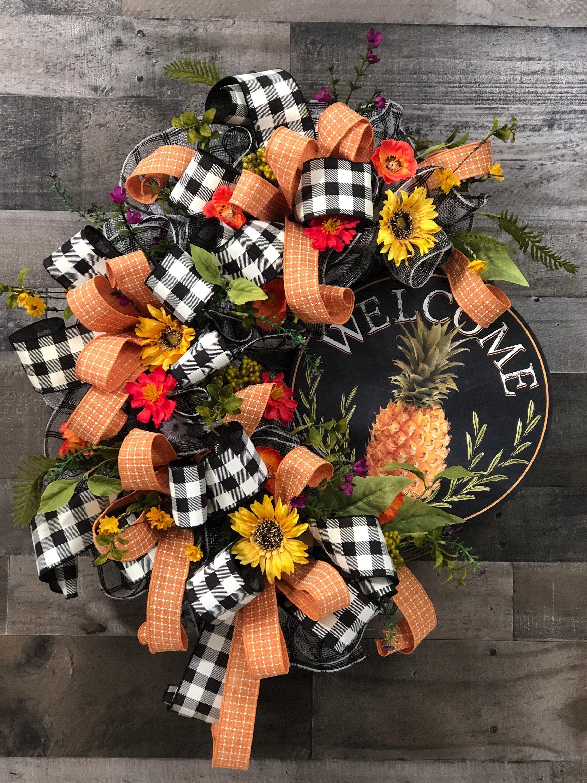Photo of Pineapple Welcome Wreath, Fall Wreath, Sunflower Wreath, Fall Wreath
