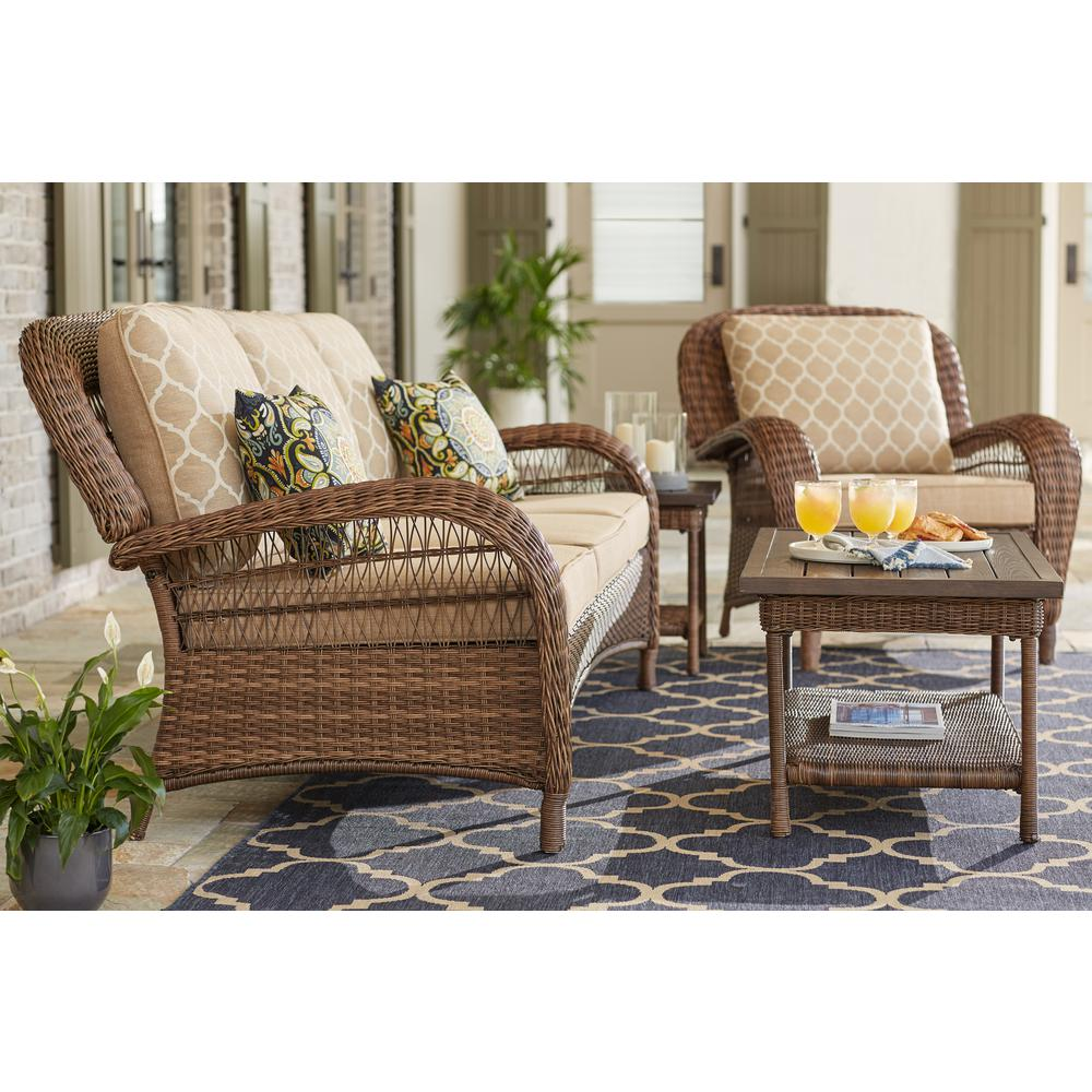 Hampton Bay Beacon Park Steel Wicker Outdoor Sofa With Toffee