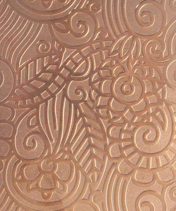 Patterned Copper Sheet Paisley Garden 2 X 6 Choose 18 Thru 24ga Csp43xx Copper Sheets Pattern Patterned Sheets