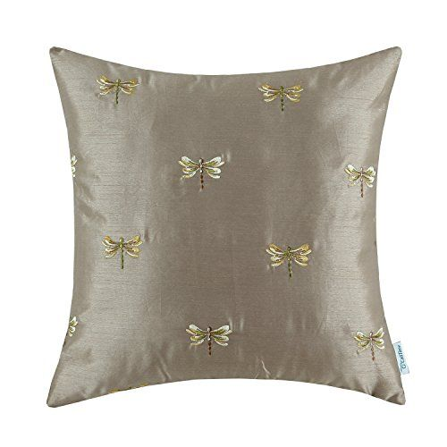 Euphoria CaliTime Contempo Home Decorative Throw Pillow Cushion Cover  Pillowcase Shell Faux Silk Vivid Dragonflies Embroidered Good Looking