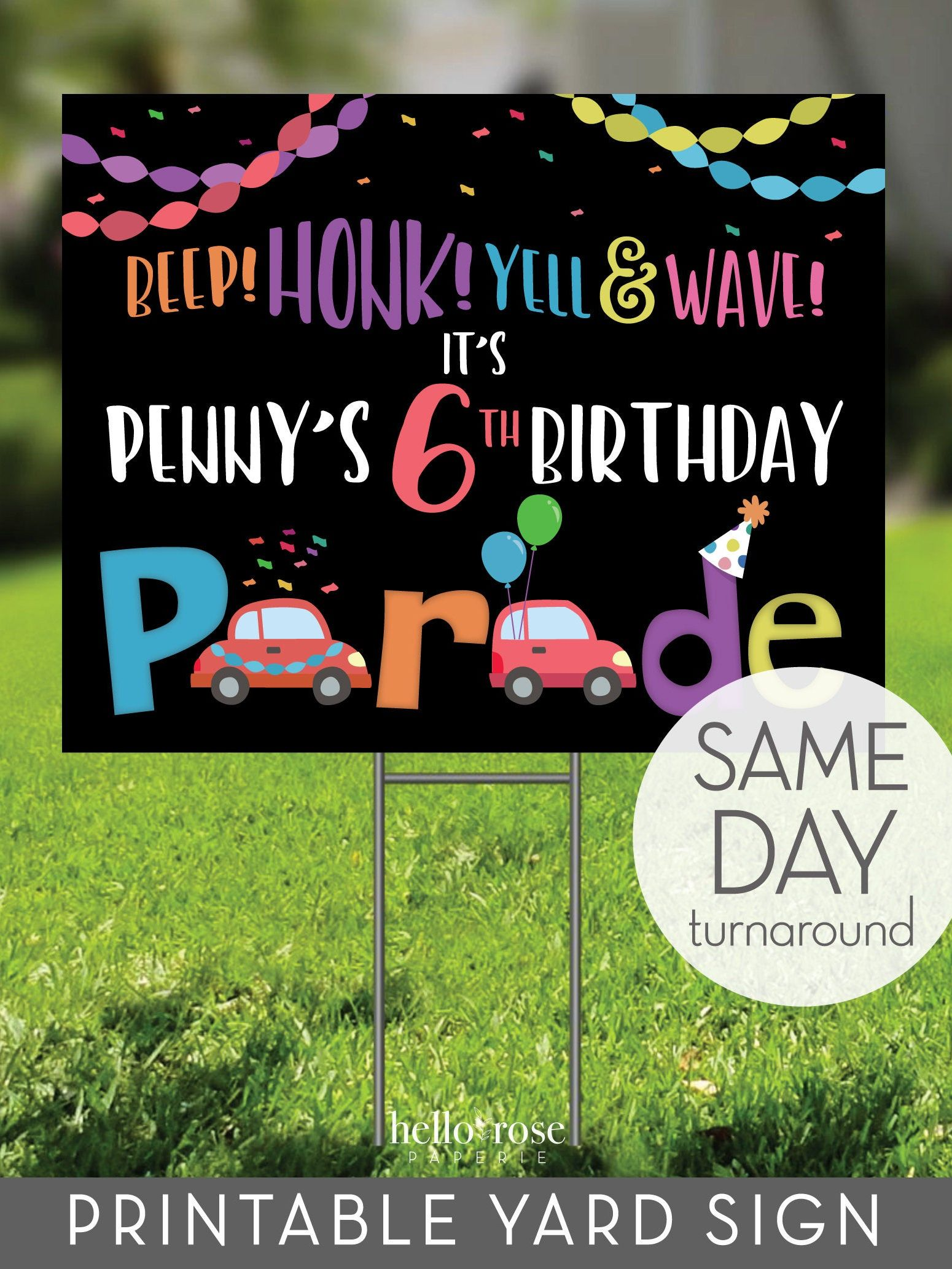 Printable Birthday Yard Sign For Birthday Parade Honk And Etsy In 2020 Birthday Yard Signs Happy Birthday Yard Signs Birthday Yard Signs Diy