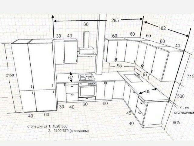 стандартные размеры кухонной мебели - Поиск в Google ...