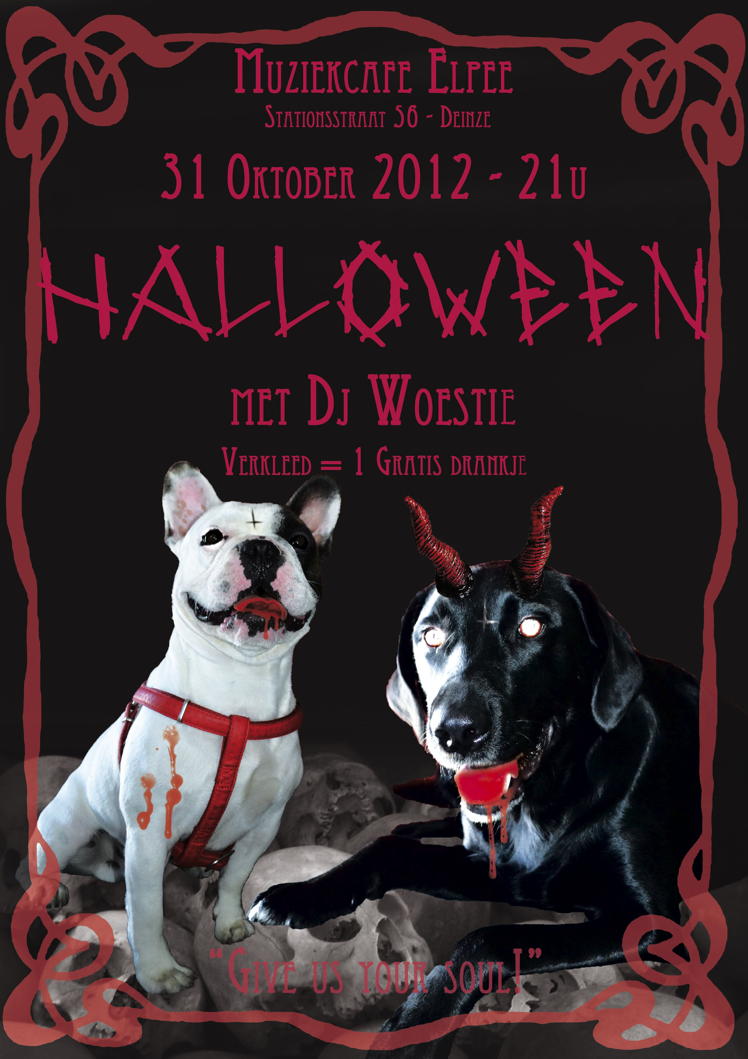 Assignment I did for the music bar Elpee © EvK 2012 #Poster #Halloween #Dogs #Evil #Satan #Frame #EvK