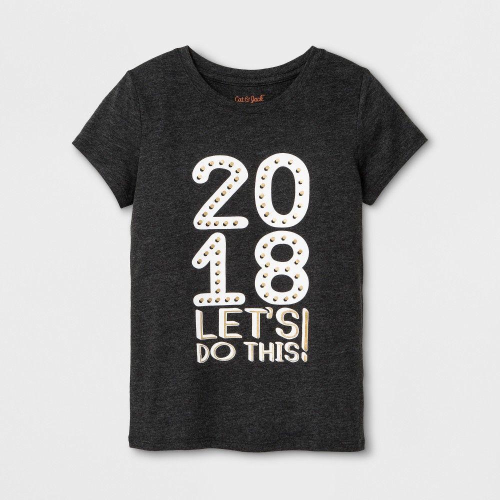 Girls' Short Sleeve New Year's Graphic TShirt Cat