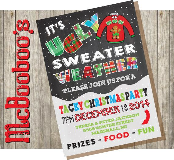 Ugly Christmas Sweater Party Invitations Tacky christmas Party