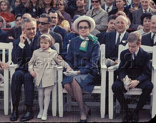 Prince Rainier and Princess Grace with their children Albert and Stephanie during a dogs exposition in May 1969.