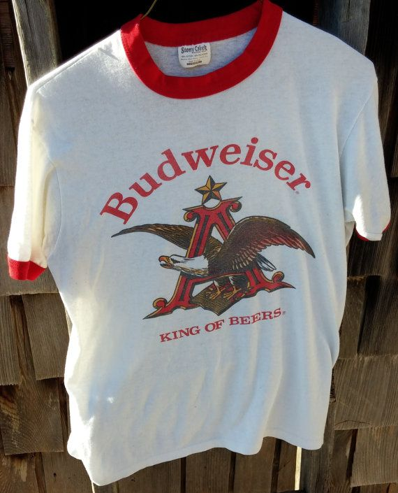 cb2c9c65 Vintage Budweiser TShirt White with Red Piping by BoxcarChildren, $25.00