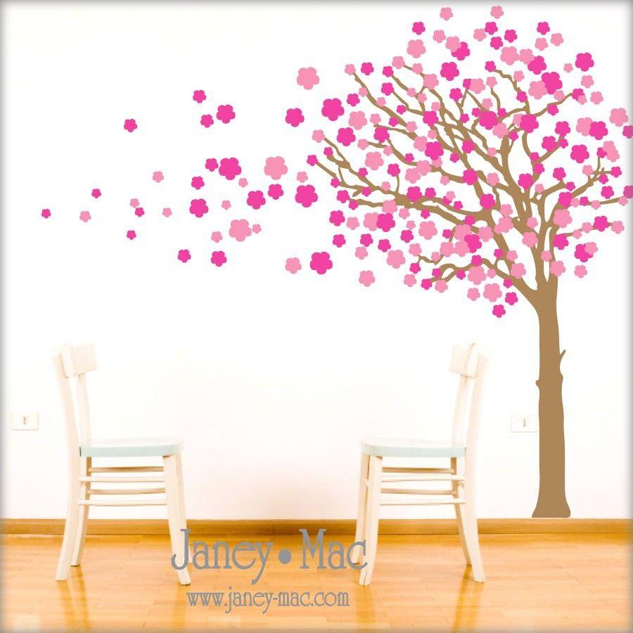 Tree Wall Decal Blowing Cherry Blossom Vinyl Wall Art Sticker