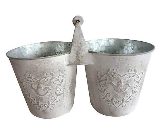 Doppio vaso decorativo in ferro bianco - 33x16x16 cm 13e