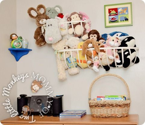 Hang Plant Hangers On The Wall For Easy Storage Of Stuffed Animals  #Decluttering #KidsToys