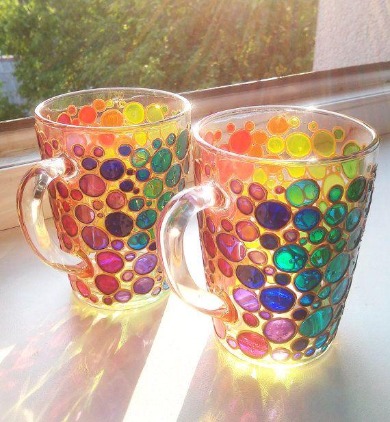 Coffee Mugs Set of 2 Hand painted Suncatcher mugs by ArtMasha