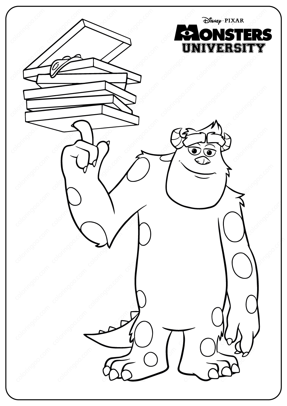 Monsters University Sulley Coloring Pages Monster University Coloring Pages Cute Monsters [ png ]