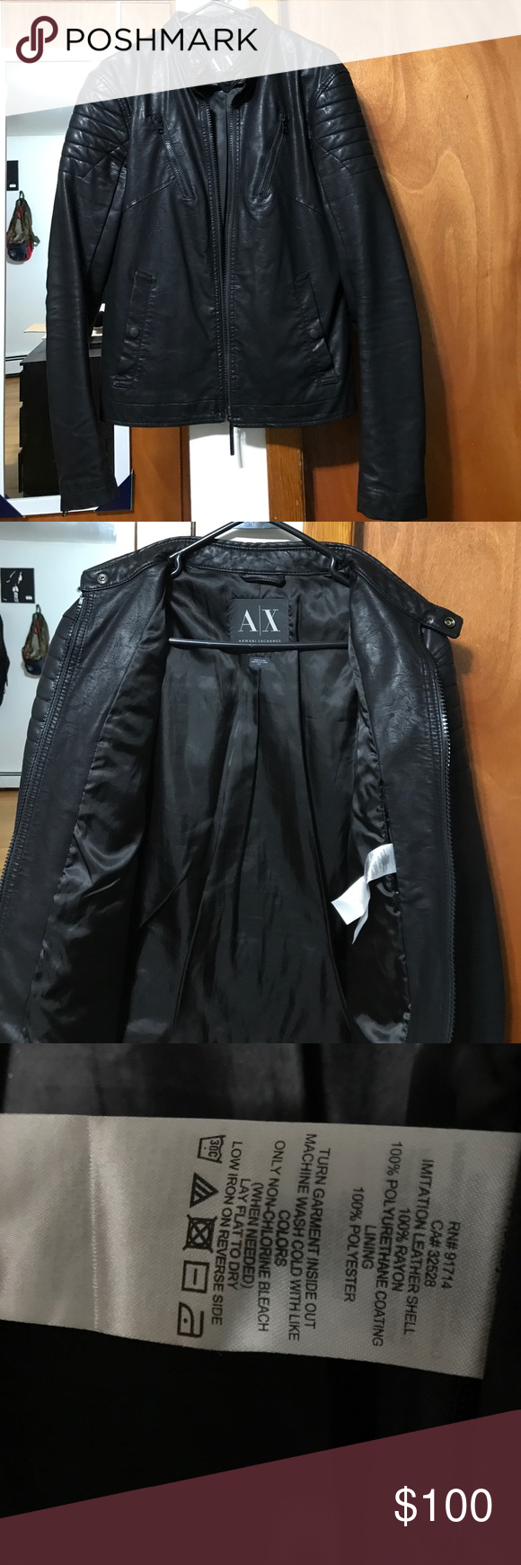 Leather Jacket Armani Exchange size Small (With images
