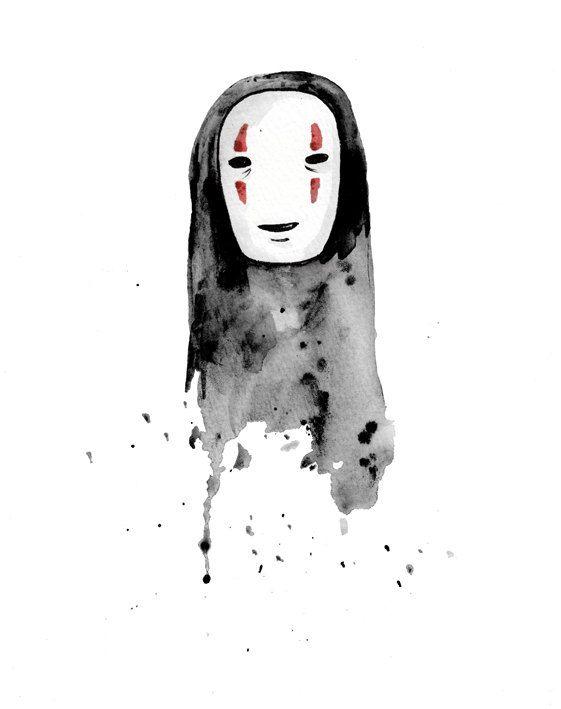 Fanart No Face Watercolor Ghibli Chihiro By Camila Averbeck Ghibli Art Ghibli Tattoo Studio Ghibli Art