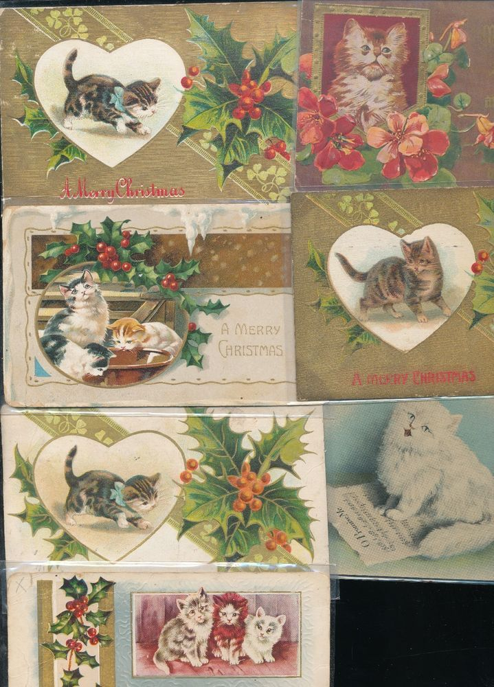 ~Nice Lot of 7 Vintage Christmas Cats Kittens Antique CAT*  Postcards-a663 #Christmas