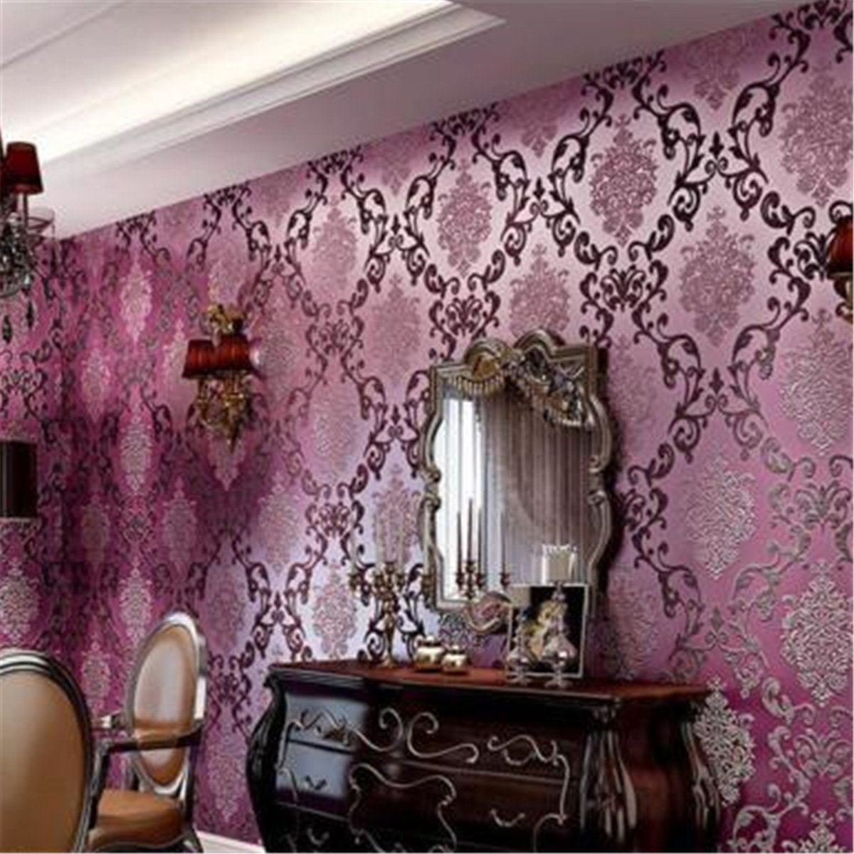 10m Roll Damask Embossed Textured Wall Decor Luxury Pu