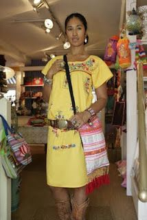 Hand embroidered traditional mexican dress & Hilltribe bag