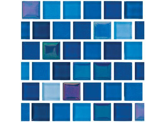 National pool tile jules 1x1 glass series pool tile Bright blue tile