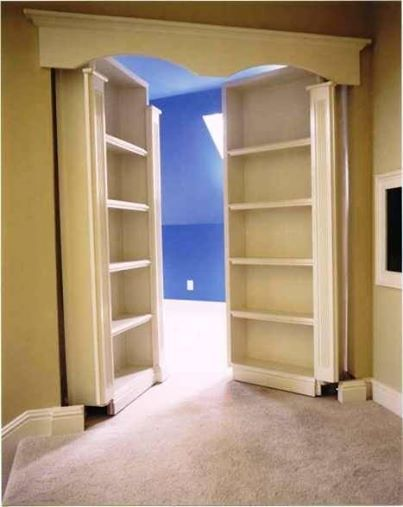 Foto: Love it? ♥ SHARE it  Check out https://www.facebook.com/JaxRecycleCart For more fun recycling ideas!  Using french doors... screw a shelf on and a wooden valence overhead and get a secret room.