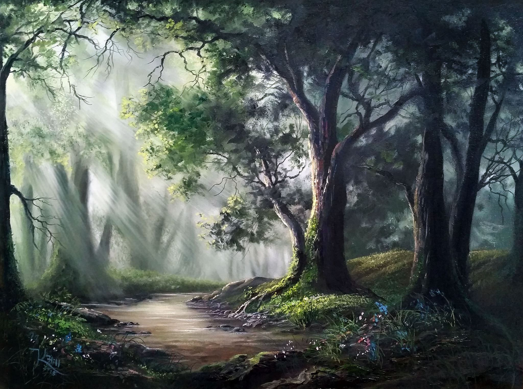 Sunlit Oak Forest By Kevin Hill Check Out My Youtube Channel Kevinoilpainting For More Information Kevin Hill Paintings Forest Painting Landscape Paintings