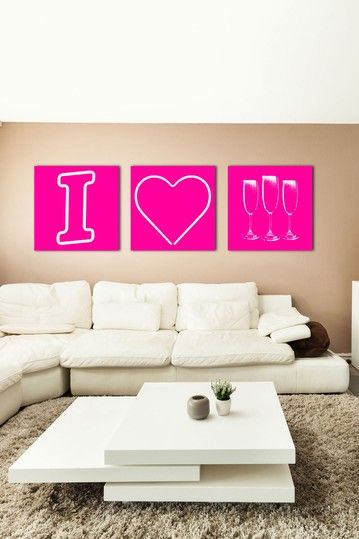 I Heart Champagne Pink Canvas Wall Art by The Ultravelvet Collection ...