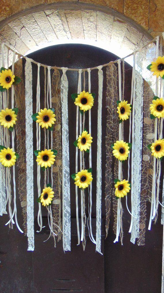 Sunflower Wedding Decor, Sunflower Garland, Bridal Shower Decor, Silk Flower Garland, Bridal Shower Garland, Flower Wall Backdrop Bunting