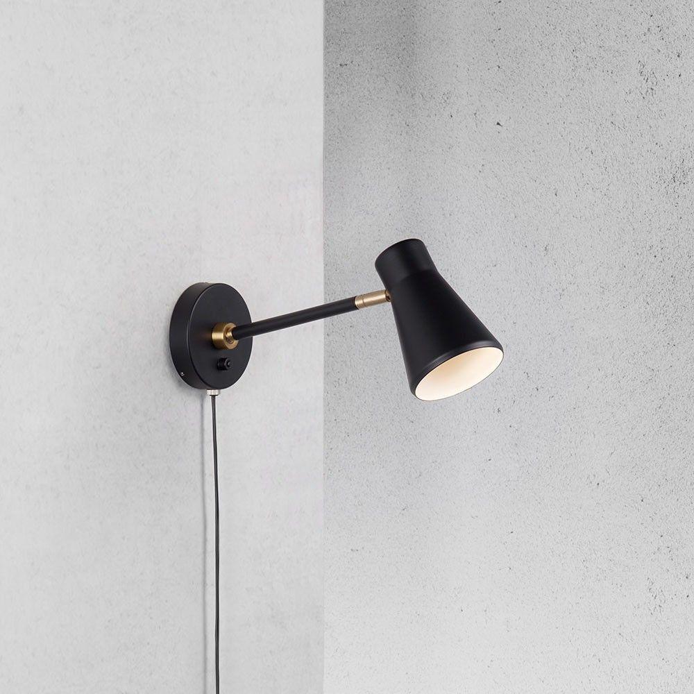 Mobility Wandspot Schwenkbar Mit Schalter Und Kabel Schwarz Innenbeleuchtung Wandstrahler Wandlampe