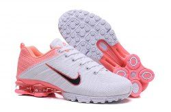 61a5f967cab68c Nike Air Shox Flyknit White Pink Black Shox R4 Women s Athletic Running  Shoes