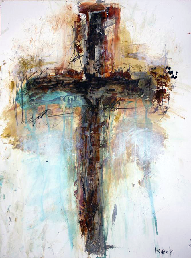 Original religious cross art paintings by Michel