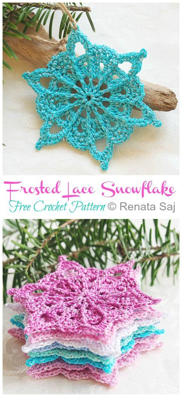 8 Winter Flower Snowflake Crochet Free Patterns #crochetedflowers