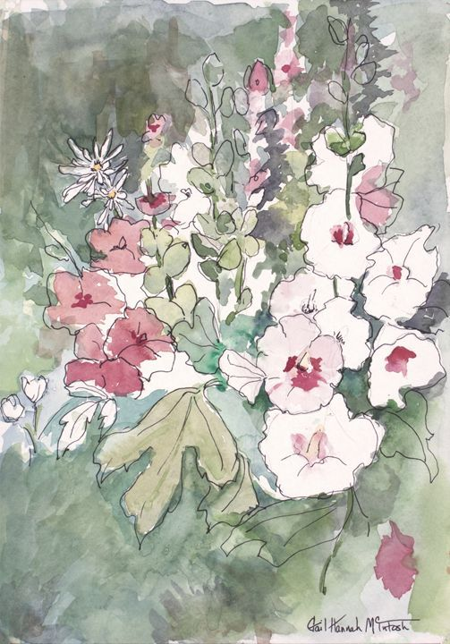 Pink and White Floral - Gail H. McIntosh - Paintings & Prints Flowers Plants… | ArtPal thumbnail