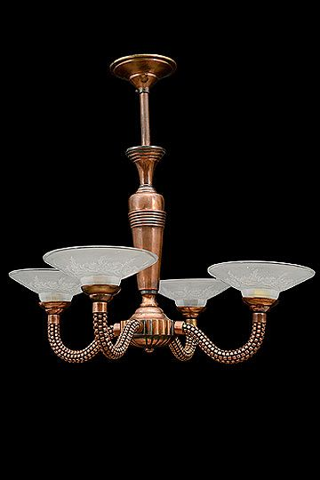 French vintage copper 4 arm chandelier with edged glass flowers french vintage copper 4 arm chandelier with edged glass flowers bobeches french circa aloadofball Choice Image